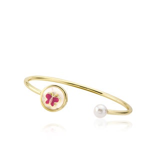 LMTS 14k Goldplated Children's Pearl and Enamel Butterfly Bangle