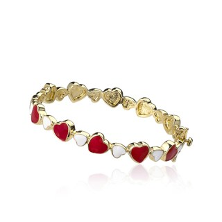 LMTS 14k Goldplated Multi-color Enamel Cut-out Heart Bangle (More options available)