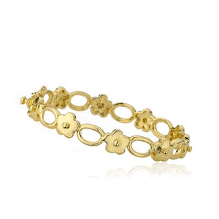 LMTS Little Miss Flower Girl 14k Goldplated Alternating Flower and Oval Links Bangle (4 options available)