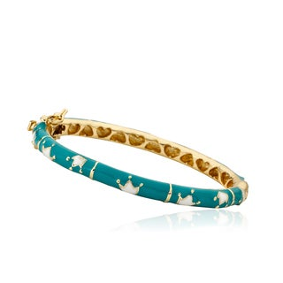 LMTS Girls 14k Gold Plated Bangle With Crowns and Lines