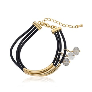 LMTS Girls Black 14k Goldplated and 3-strand Black Rubber Crystal Bangle