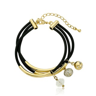 LMTS Girls 3-row Black Rubber Crystals and Cubic Zirconia Bangle