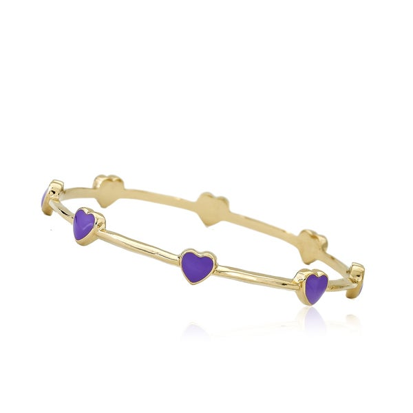 LMTS Girls' 14k Goldplated Hot Pink Enamel Hearts Thin Bangle