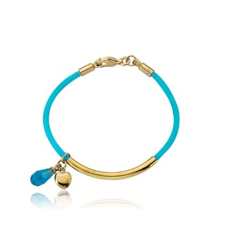 LMTS Girls 14k Goldplated Aqua Rubber Crystal Bangle
