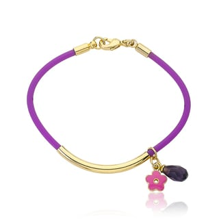 LMTS Girls 14k Goldplated Bar Purple Rubber Bangle