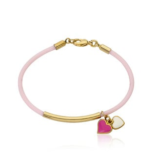 LMTS Girls' 14k Goldplated Bar with Pink Rubber Hot Pink and White Enamel Heart Charms Bangle