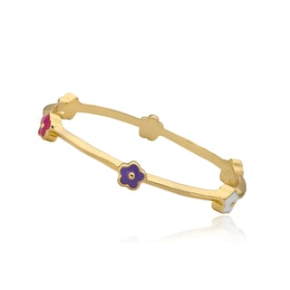 LMTS Girls 14k Goldplated Hot Pink Enamel Flowers Bangle