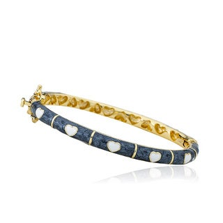 LMTS Girls' 14k Goldplated Grey Enamel and White Heart Bangle