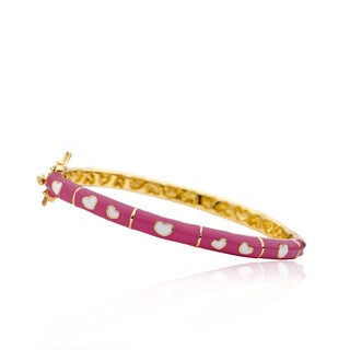 LMTS Girls 14k Gold Plated Bangle With Hearts & Gold Lines