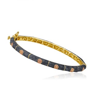 LMTS Girls 14k Goldplated Grey Enamel Bangle (More options available)
