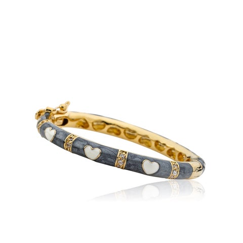 LMTS Girls' 14k Goldplated Grey Enamel Cubic Zirconia Bangle