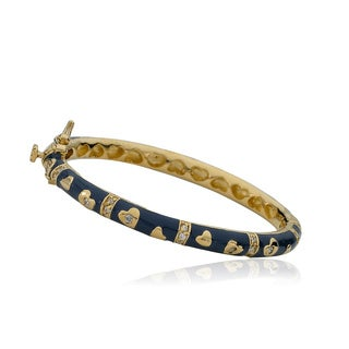 LMTS Girls 14K Gold Plated Cubic Zirconia Navy Enamel Bangle With Double Hearts
