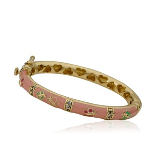 LMTS Girls 14k Goldplated Pink Enamel and Cubic Zirconia Oval Bangle