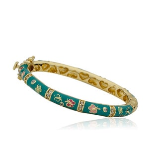 LMTS Girls' 14k Goldplated Cubic Zirconia Turquoise Enamel Oval Bangle
