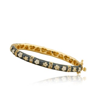 LMTS Girls 14k Goldplated Grey Enamel Oval Cubic Zirconia Bangle (More options available)