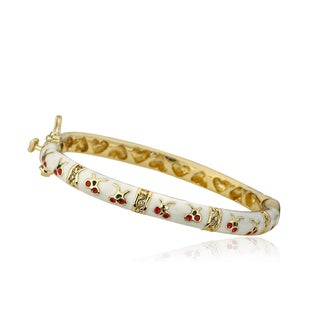 LMTS Cherry Chic 14k Goldplated Cubic Zirconia Oval Bangle