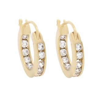 Nexte Jewelry Goldtone or Silvertone Channel Set Mini Hoop Earrings
