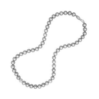 Sterling Silver Grey Cultured Freshwater AA Quality Pearl Strand Necklace with Crystal Ball (7-8mm)