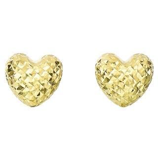 14k Diamond Cut And Polished Gold Puff Heart Earrings