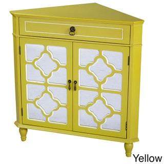 Heather Ann Mirror Insert Double Door, Single Drawer Wooden Corner Cabinet