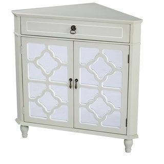 Heather Ann Mirror Insert Double Door, Single Drawer Wooden Corner Cabinet (Option: White)