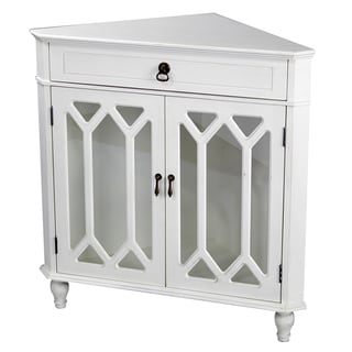 Heather Ann Glass Insert Double Door, Single Drawer Wooden Corner Cabinet