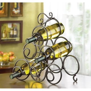 Stylish Wrought Iron 6-bottle Wine Rack