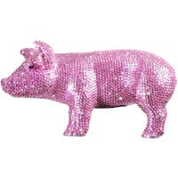 Pink Rhinestone Encrusted 12-inch Long Pig Bank