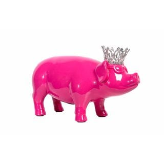 Hot Pink Ceramic Piggy Bank with Glasses and Crown
