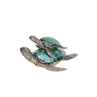 Blue Mom with Baby Turtle Tabletop Decor