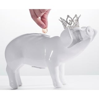 Ceramic Glazed 12-inch Long Pig Bank with Crystal Crown