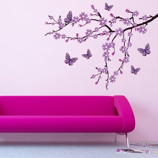 Lilac Blossom Branch Floral Vinyl Wall Art