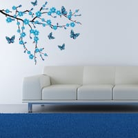 Butterflies and Branch - floral wall decal, sticker, mural vinyl art home decor