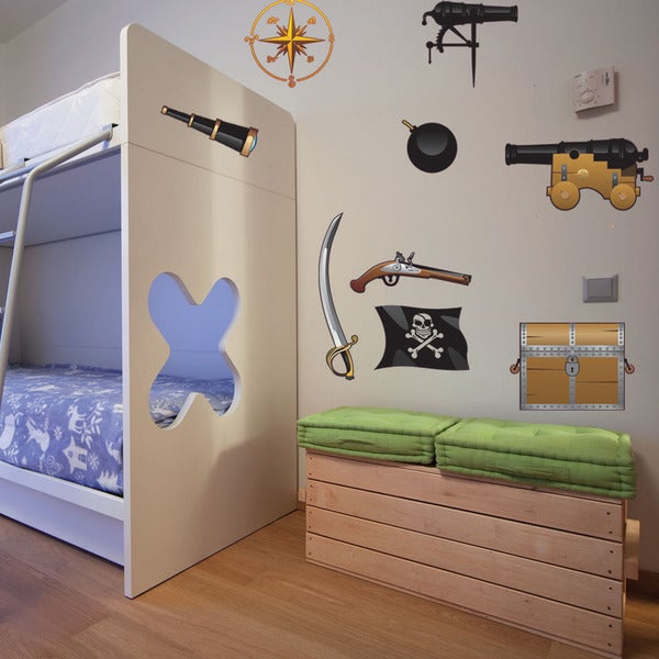 Colorful Pirate Set Nursery Boys Wall Decal Sticker Deco Mural Vinyl
