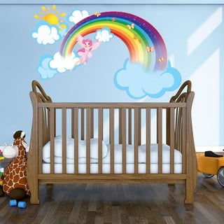 Rainbow Fairy - nursery girls wall decal sticker, deco, mural, vinyl wall art