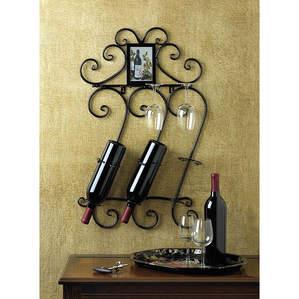 3-Bottle Wine Rack Wall Decor, Black