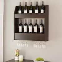 Everett Espresso Floating Wine and Liquor Rack