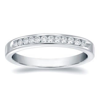 Auriya 14k Gold 1/3ct TDW Round-Cut Diamond Channel Band