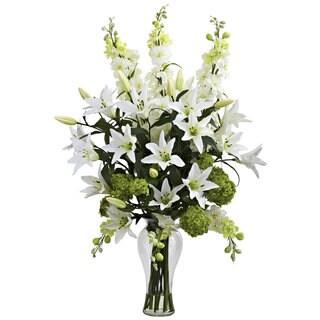 Lily, Delphinium & Hydrangea Silk Arrangement