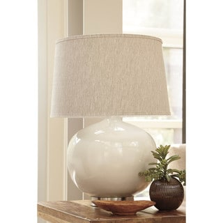Signature Design by Ashley Savita Light Gray Poly Table Lamp