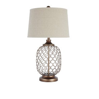 Signature Design by Ashley Sanzia Gold Finish Metal Table Lamp
