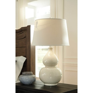 Signature Design by Ashley Saffi Cream Ceramic Table Lamp