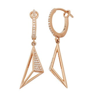 14k Yellow Gold 1/4ct TDW Diamond Cut-out Slanted Dangle Earrings (G-H, I1-I2)