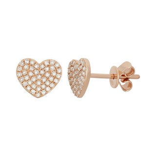 14k Yellow or Rose Gold 1/4ct TDW Diamond Women's Heart Stud Earrings