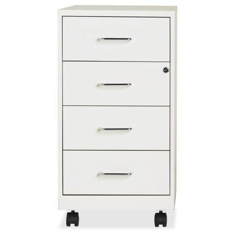 "Space Solutions 18"" Deep 4-drawer Mobile Organizer Cabinet,Pearl White"