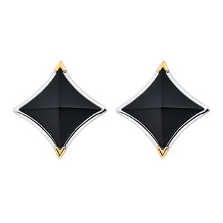 18k Gold and Sterling Silver Peaked Black Onyx Earrings