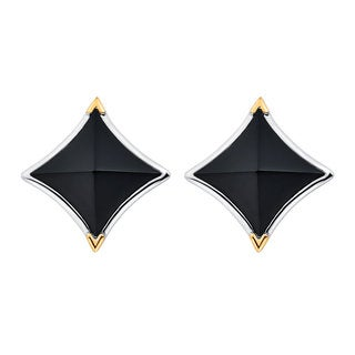 Boston Bay Diamonds 18k Yellow Gold and 925 Sterling Silver Peaked Black Onyx Earrings