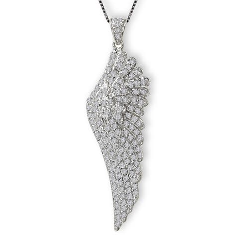 Avanti Sterling Silver Cubic Zirconia Angel Wing Necklace
