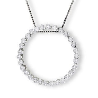 Avanti Sterling Silver Cubic Zirconia Circle Necklace