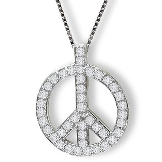 Avanti Sterling Silver Cubic Zirconia Peace Sign Necklace